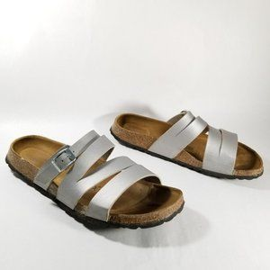 Birkenstock Betula Silver Leather Strappy Sandals